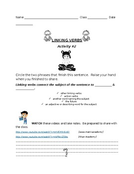 Linking Verbs Lesson Plan