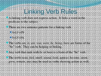 Linking Verbs Power Point Presentation