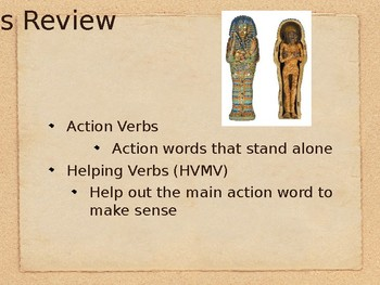 Linking Verbs PowerPoint Presentation (Ancient Egypt Themed)