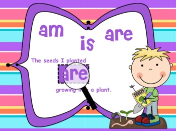 Linking Verbs am, is, are SPRING Theme for MIMIO - Common Core