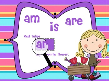 Linking Verbs am, is, are SPRING Theme for SMARTBOARD - Common Core