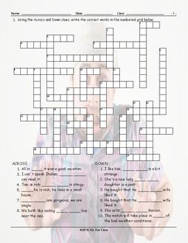 Linking Words-Connectors Crossword Puzzle