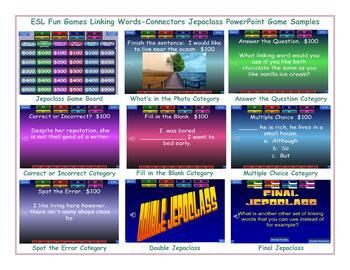 Linking Words-Connectors Jeopardy PowerPoint Game