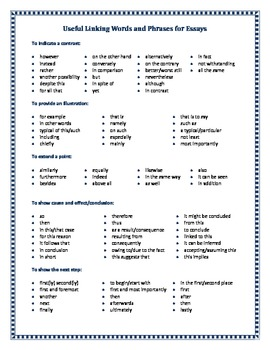 Linking words to use in essays