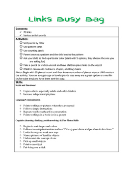 Links Busy Bag