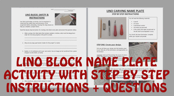 Lino Block Printing Name Plate Activity With Instructions and Questions