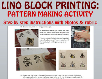 Lino Block Printing Pattern Making Activity With Instructions
