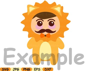 Lion Animal kawaii chibi japan emoji emotions clip art svg school zoo hero -13sv
