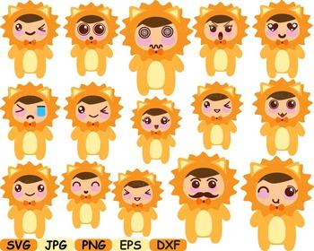 Lion Animal kawaii chibi japan emoji emotions clip art svg