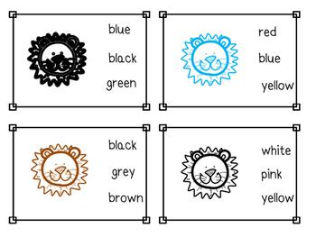 Lion Color Sight Word Clip Cards