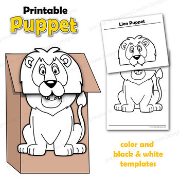 photo about Printable Paper Bag Puppets named Puppet Lion Craft Recreation Printable Paper Bag Puppet Template