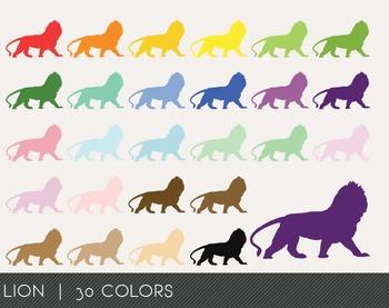 Lion Digital Clipart, Lion Graphics, Lion PNG, Rainbow Lion Digital Files