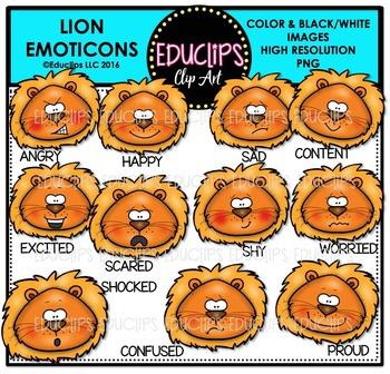Lion Emoticons Clip Art Bundle  {Educlips Clipart}