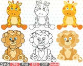 Lion Giraffe Outline Silhouette Studio clipart Safari Cute Baby Animals zoo 747S