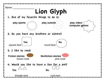 Lion Glyph Craftivity: Zoo/Safari
