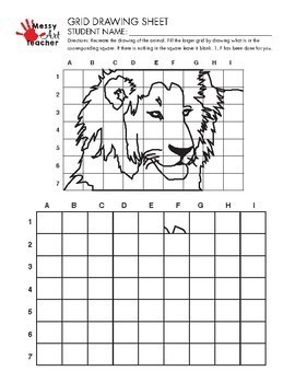 Lion Grid Drawing Worksheet for Elementary/Middle Grades