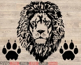 Lion Head Silhouette SVG clipart wild animal african king claw zoo 852S