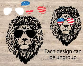 Lion Head USA Flag Glasses Silhouette SVG wild animal african king zoo 853S