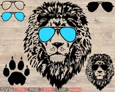 Lion Head glasses Silhouette SVG wild animal african king claw zoo 854S