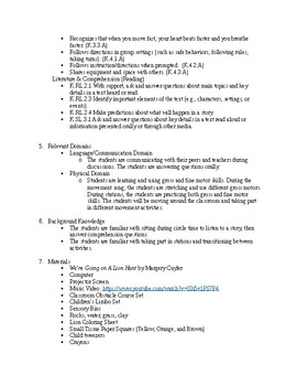 Lion Hunt Reading, Music, and Physical Domain Lesson Plan Kindergarten