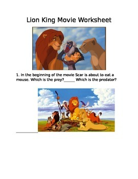 Lion King Movie Worksheet Food Chain
