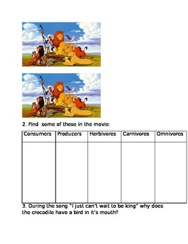lion king food chain worksheet answer key. Black Bedroom Furniture Sets. Home Design Ideas