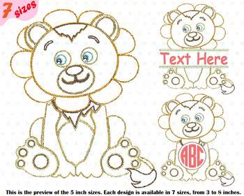 Lion King Outline Embroidery Design Cute Baby wildlife birthday frame 225b