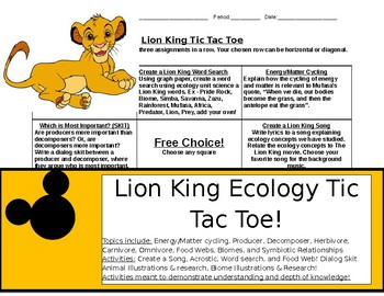 Lion King Ecology Tic Tac Toe