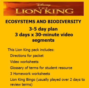 Lion King VIDEO Ecology Lesson 3-5 days - Great before a holiday & as a sub plan