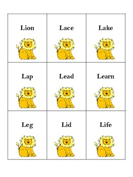 Lion /L/ Word Cards