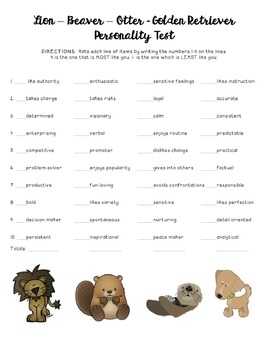 Lion - Otter - Beaver - Retriever Personality Test