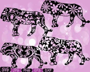 Lion Safari Monogram SVG Silhouette school Clipart zoo circus flower floral 363S