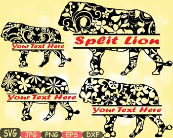 Lion Split Jungle Animal Safari Flower SVG school Clipart
