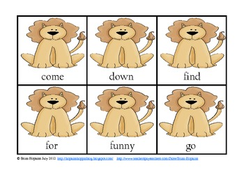 Lion Themed Pre-Primer Sight Words
