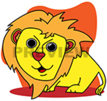 Lion, Tiger, Elephant, and Frog Clipart/Coloring