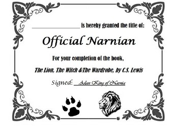 Lion Witch Wardrobe Certificate