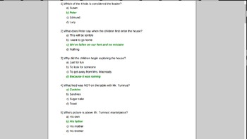 Lion, Witch, and Wardrobe Chapters 1-6 Test Answer Key