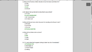 Lion, Witch, and Wardrobe Chapters 7-11 Test Answer Key