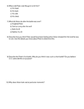 Lion, Witch and Wardrobe Test Chapters 12-14