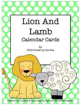Lion and Lamb Calendar Cards FREEBIE