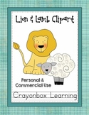 Lion and Lamb Clipart -  Spring Clipart - Commercial Use