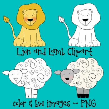Lion And Lamb Clipart Spring Clipart Commercial Use Tpt