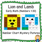 Lion and Lamb Early Math Number Chart Mystery Pictures (Numbers 1-30) for March