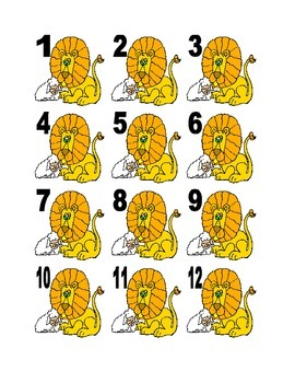 Lion and Lamb Clipart Numbers for Calendar or Math Activity