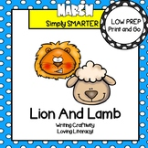 Lion and Lamb Writing Cut and Paste Craftivities