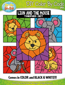 Lion and the Mouse Color By Code Clipart {Zip-A-Dee-Doo-Dah Designs}