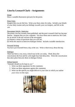 Lion by Leonard Clark - Student Activity Bundle