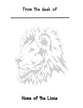 Lion mascot memo sheet