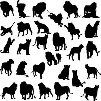 Lion silhouette digital clipart