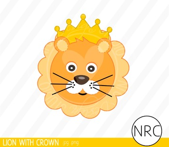 Lion with Crown Clip Art - Commercial Use Clipart